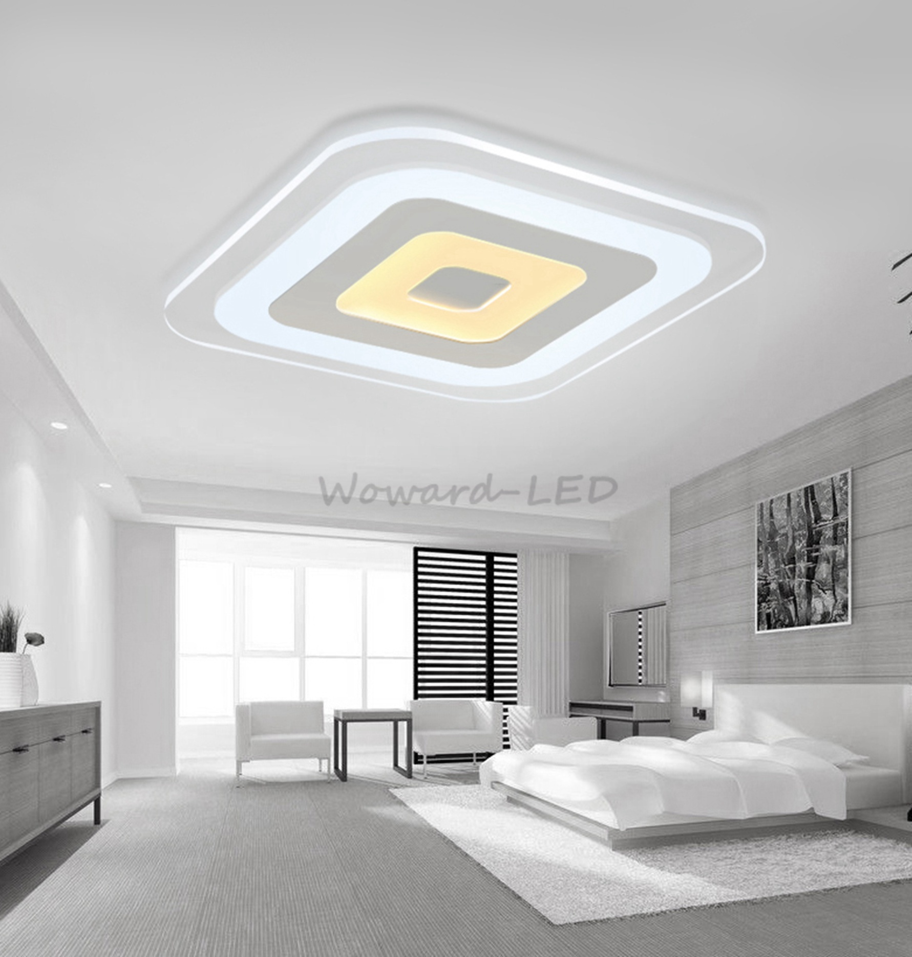 wow led deckenlampe deckenleuchte 16w bis 143w dimmbar lampe beleuchtung ebay. Black Bedroom Furniture Sets. Home Design Ideas
