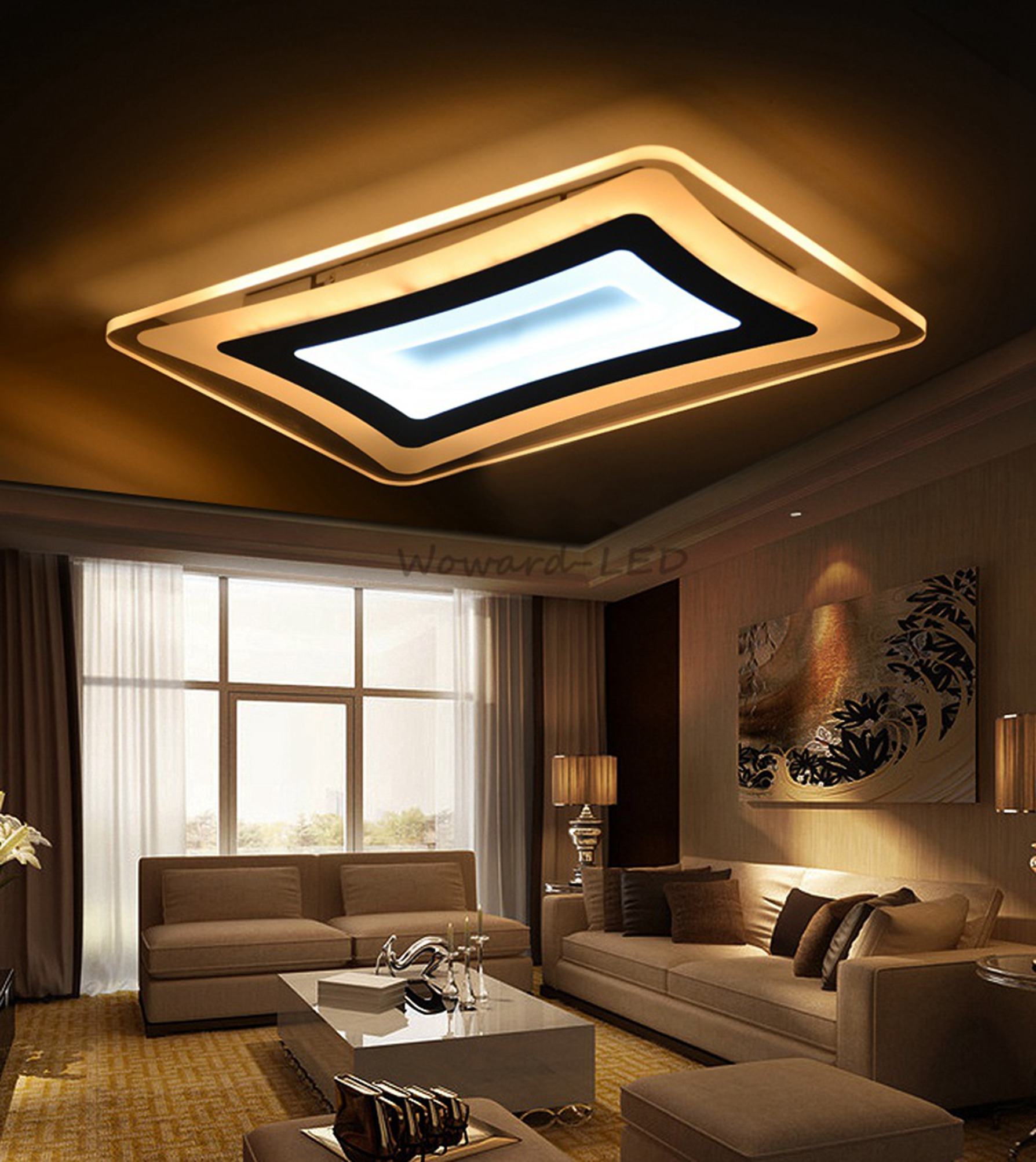 wow led deckenlampe deckenleuchte 48w bis 148w dimmbar lampe beleuchtung wow r b ebay. Black Bedroom Furniture Sets. Home Design Ideas