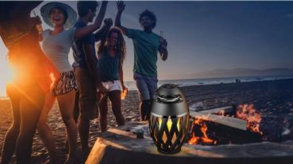 Woward LED Flammenlampe mit Bluetooth Lautsprecher WOW-A1 | Gartenlampe Musik Player Wasserdicht IP65
